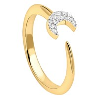 Missoma 18Ct Gold Vermeil Eclipse Pave Moon Ring Gold
