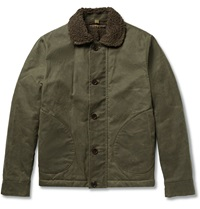 Freemans Sporting Club Faux Shearling Lined Waxed Cotton Canvas Deck Jacket Green