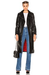 Adaptation Leather Moto Trench In Black
