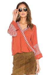 Piper Butan Embroidered Top Burnt Orange