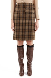 Topshop Unique 'Inverness' Plaid A Line Skirt Brown Multi