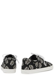 Dolce And Gabbana Black Palm Print Canvas Trainers Black And White