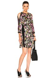 3.1 Phillip Lim Meadow Flower Cold Shoulder Dress In Black Floral Pink Yellow Black Floral Pink Yellow