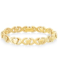 Signature Gold Heart And X Bracelet In 14K Over Resin Yellow Gold