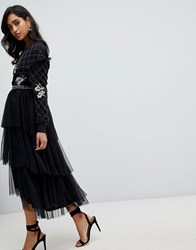 Frock And Frill Embroidered Tulle Midi Skirt In Black Black