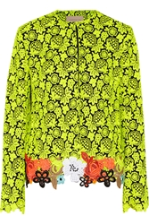 Christopher Kane Neon Guipure Lace And Cady Jacket