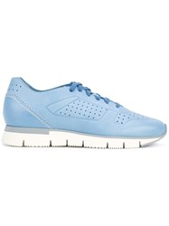 Santoni Perforated Runner Sneakers Women Leather Rubber 38 Blue