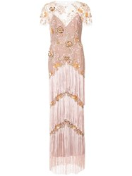 Marchesa Notte Fringed Embroidered Maxi Dress Nylon Pink Purple