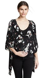 Ingrid And Isabel Magnetic Closure Cosy Nursing Cardigan Black Artist Floral