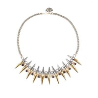 Laura Cantu Jewelry Bi Color Spike Choker Necklace Silver