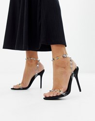 Boohoo Stud Detail Clear Strap Barely There Heeled Sandal Black