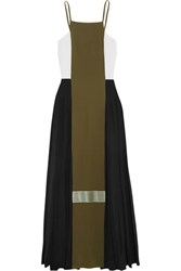 Zeus Dione Maya Pleated Color Block Silk Crepe De Chine Maxi Dress Army Green