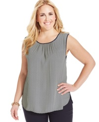 Jones New York Collection Plus Size Printed Shell Pale Yellow Navy