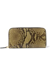 Marni Snake And Coated Leather Wallet Army Green