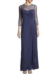 Js Collections Beaded Illusion Gown Violet