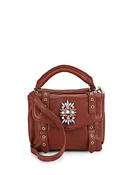 Cynthia Rowley Posy Embellished Leather Satchel Brandy