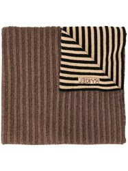 Sonia Rykiel Striped Knit Scarf Brown