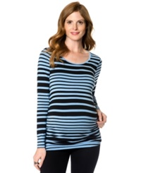A Pea In The Pod Maternity Long Sleeve Striped Ruched Tee Periwinkle Black