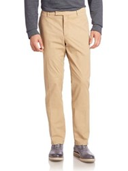 Ralph Lauren Purple Label Solid Flat Front Pants Tan