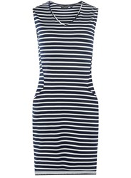 Dorothy Perkins Navy Striped Pocket Shift Dress Black White