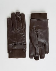 French Connection Leather Gloves Brown