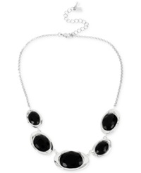Robert Lee Morris Soho Silver Tone Black Faceted Bead And Hammered Sculptural Link Frontal Necklace