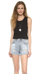 Madewell Banded Crop Tank True Black
