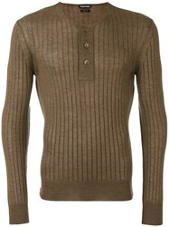 Tom Ford Superfine Long Sleeved Henley Brown