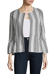 August Silk Open Front Long Sleeve Cotton Jacket Black White