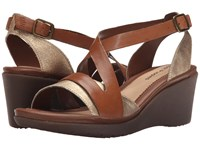 Hush Puppies Rory Russo Tan Leather Metallic Suede Women's Wedge Shoes Brown