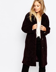 Whistles Sophie Cocoon Coat In Teddy Fur Bordeaux