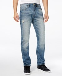 Sean John Snowblasted Destructed Straight Fit Jeans