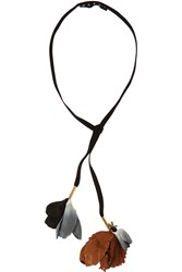 Marni Cotton Twill Crystal And Horn Necklace Black