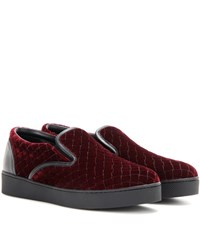 Bottega Veneta Velvet Sneakers Red
