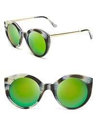 Illesteva Mirrored Palm Beach Sunglasses Horn Green Mirror