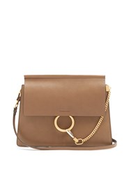 Chloe Faye Medium Leather Shoulder Bag Khaki