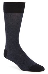 Cole Haan Men's Pique Texture Crew Socks Navy