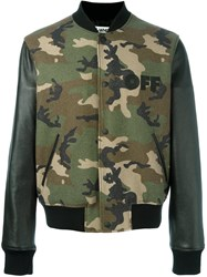 Off White Camouflage Bomber Green