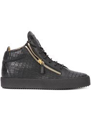 Giuseppe Zanotti Design Crocodile Embossed Kriss Mid Top Sneakers Black