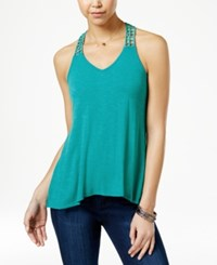 American Rag Crocheted Back High Low Tank Top Only At Macy's Lake Blue