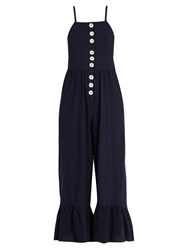 See By Chloe Square Neck Seersucker Jumpsuit Navy