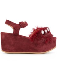 L'autre Chose Wedge Sandals Leather Rabbit Fur Suede Rubber Red