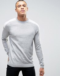 New Look Jumper In Grey With Sport Patch Detail Mid Grey