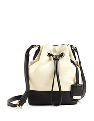 Kenneth Cole Nevins Leather Small Bucket Bag Bone Black