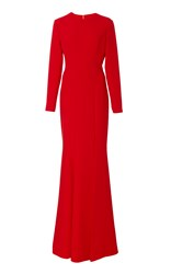 Romona Keveza Long Sleeve Gown With Leg Slit Red
