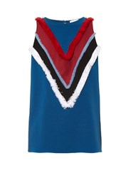 Altuzarra Cezanne Fringe Trimmed Sleeveless Cady Top Blue Multi
