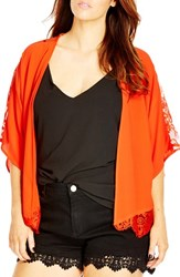 City Chic Plus Size Women's Lace Insert Kimono Jacket