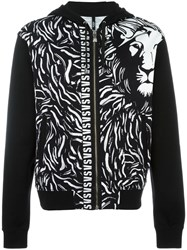 Versus Lion Print Hooded Cardigan Black