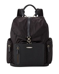 Ermenegildo Zegna Pelle Tessuta Leather And Nylon Backpack Black