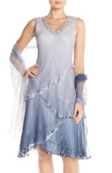 Petite Women's Komarov Tiered Chiffon A Line Dress And Shawl Silver Night